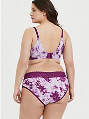Plus Size Purple Tie-Dye Cotton 360° Back Smoothing™ Push-Up Plunge Bra, NICE DYE, alternate