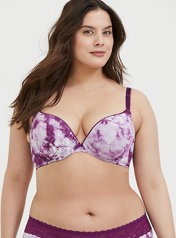 Plus Size Purple Tie-Dye Cotton 360° Back Smoothing™ Push-Up Plunge Bra, , hi-res