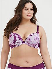 Plus Size Purple Tie-Dye Cotton 360° Back Smoothing™ Push-Up Plunge Bra, NICE DYE, hi-res