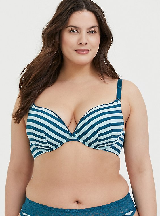 Plus Size Dark Teal Stripe Cotton 360° Back Smoothing ™ Push-Up Plunge Bra, , hi-res