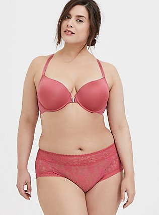 Plus Size Pink Microfiber & Lace Push-Up Racerback Bra and Cheeky Panty, , hi-res