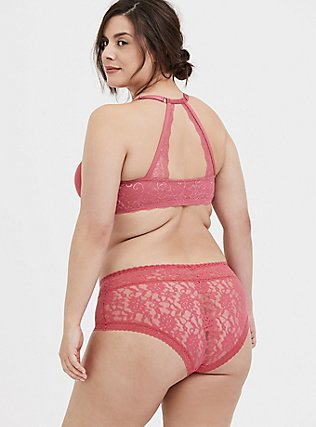 Plus Size Rose Pink Push-Up Microfiber & Lace Racerback Bra, BAROQUE ROSE, alternate