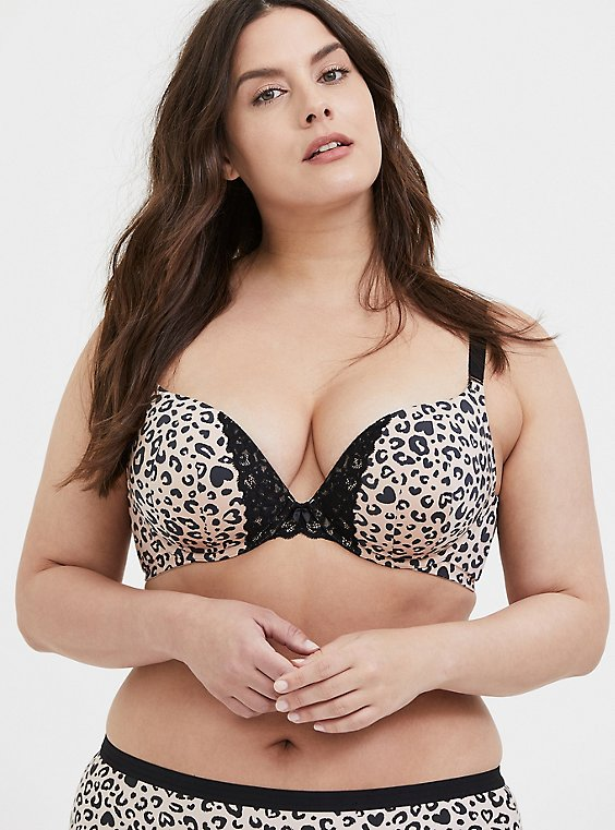 Leopard Heart 360° Back Smoothing™ Push-Up Plunge Bra, , hi-res