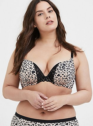 Leopard 360° Back Smoothing™ Push-Up Plunge Bra, , hi-res