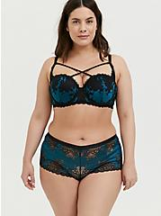 Teal & Black Lace Strappy Push-Up Strapless Bra, BLUE CORAL- BLUE, alternate