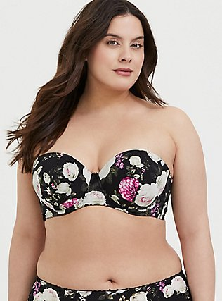 Plus Size Black Floral Microfiber Push-Up Multiway Strapless Bra, , hi-res