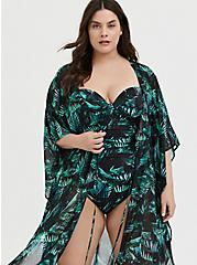 Black & Green Palm Chiffon Kaftan Swim Cover Up, MULTI, alternate