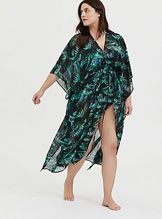 Plus Size Black & Green Palm Chiffon Kaftan Swim Cover-Up, MULTI, alternate