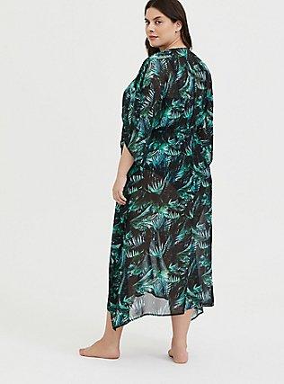 Black & Green Palm Chiffon Kaftan Swim Cover-Up, MULTI, alternate