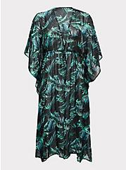 Black & Green Palm Chiffon Kaftan Swim Cover Up, MULTI, hi-res