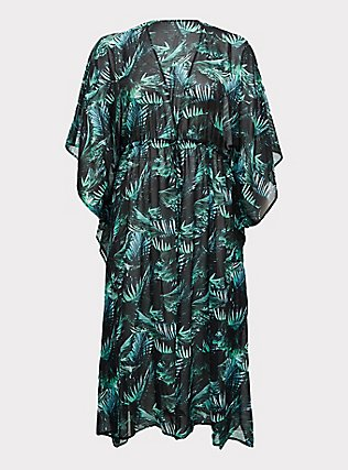 Plus Size Black & Green Palm Chiffon Kaftan Swim Cover-Up, MULTI, flat
