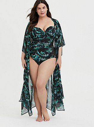Plus Size Black & Green Palm Chiffon Kaftan Swim Cover-Up, MULTI, hi-res