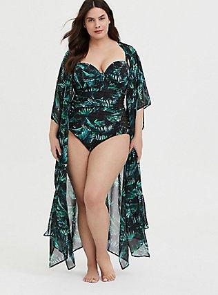 Black & Green Palm Chiffon Kaftan Swim Cover-Up, MULTI, hi-res