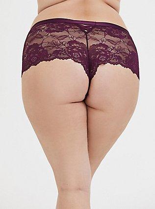 Grape Purple Lattice Back Lace Cheeky Short, POTENT PURPLE, alternate