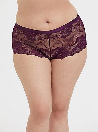 Grape Purple Lattice Back Lace Cheeky Short, POTENT PURPLE, hi-res