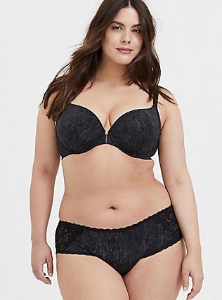 Plus Size Snake Microfiber 360 Back Smoothing™ Front Closure T-Shirt Bra and Hipster Panty, , hi-res