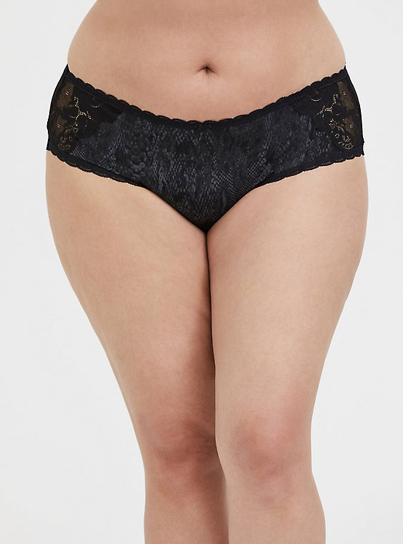 Black Snakeskin Print Microfiber & Lace Lattice Hipster Panty, , hi-res