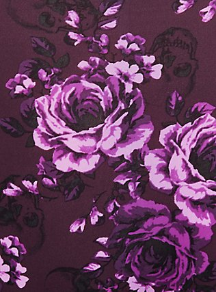 Plus Size Purple Skull Floral Wide Lace Shine Hipster Panty, SKULL GARDENS, alternate
