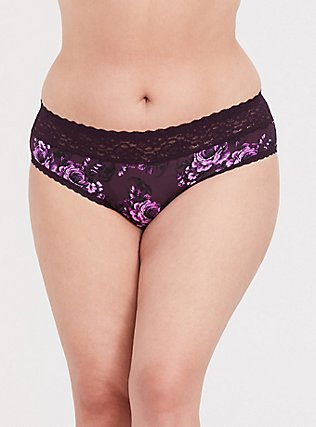 Plus Size Purple Skull Floral Wide Lace Shine Hipster Panty, SKULL GARDENS, hi-res
