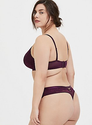Grape Purple Lace Lattice Thong Panty, POTENT PURPLE, alternate