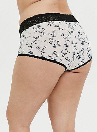 White Floral & Black Wide Lace Shine Brief Panty, PRETTY FLORAL, alternate