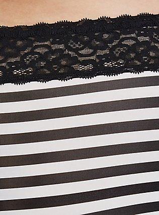 Plus Size Black & White Striped Wide Lace Shine Cheeky Panty, BLACK STRIPE, alternate