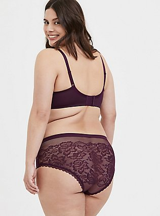Grape Purple Lace & Mesh Hipster Panty, POTENT PURPLE, alternate