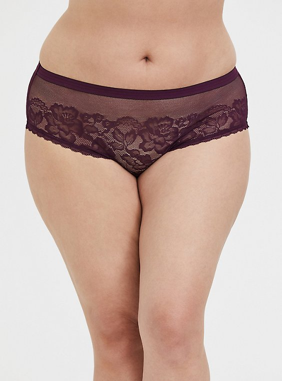 Grape Purple Lace & Mesh Hipster Panty, , hi-res