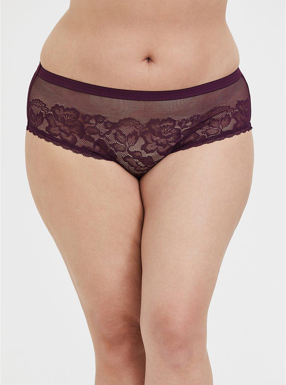 Plus Size Grape Purple Lace & Mesh Hipster Panty, , hi-res