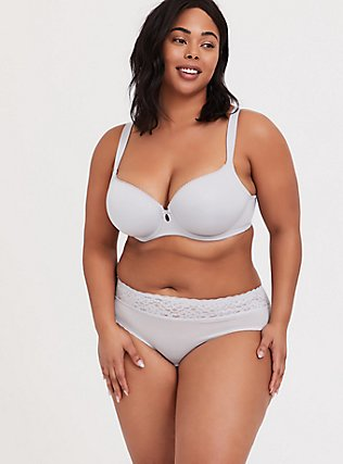 Plus Size Light Grey Wide Lace Shine Hipster Panty, GREY SKIES, alternate