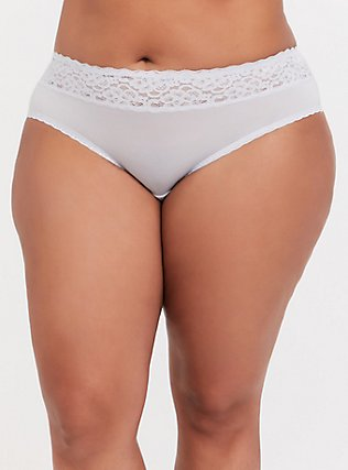 Plus Size Light Grey Wide Lace Shine Hipster Panty, GREY SKIES, hi-res
