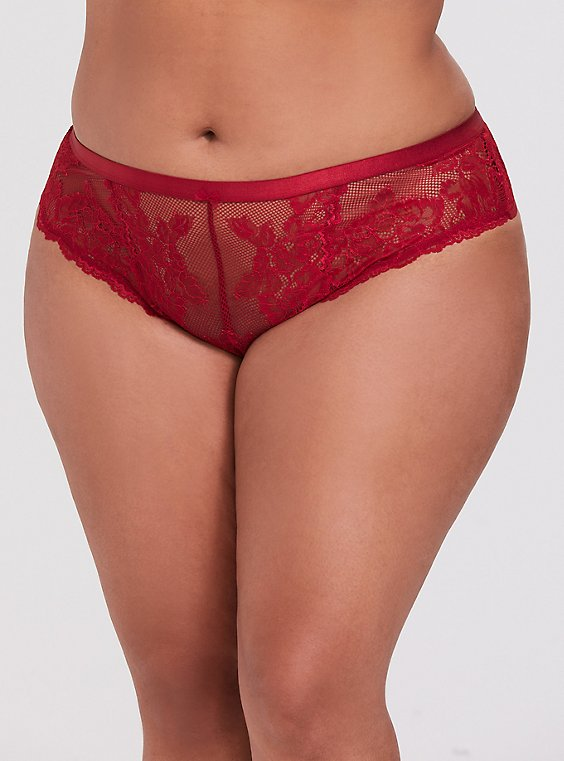 Plus Size Red Lace Lattice Thong Panty, , hi-res