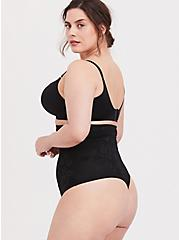 Plus Size Black Microfiber 360° Smoothing™ Ultra High Waist Thong Panty, RICH BLACK, alternate