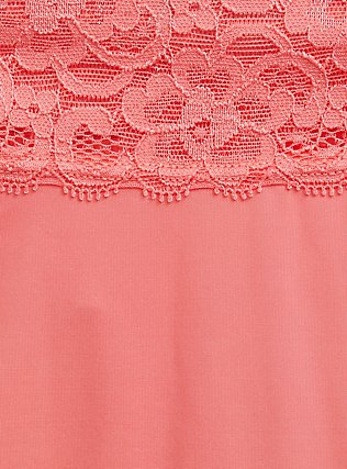Plus Size Coral Wide Lace Shine Thong Panty, , alternate