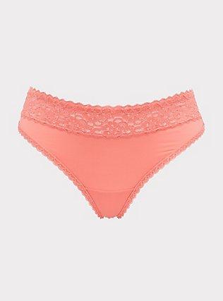 Plus Size Coral Wide Lace Shine Thong Panty, , flat