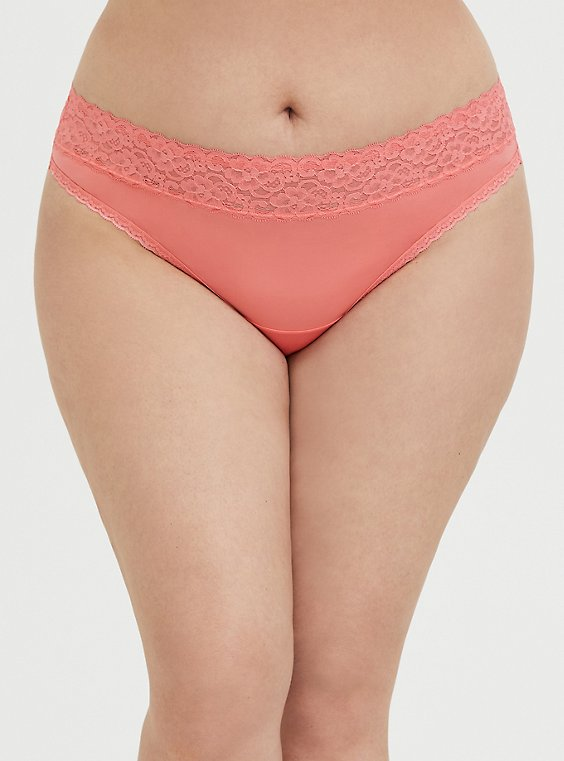 Plus Size Coral Wide Lace Shine Thong Panty, , hi-res