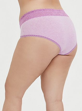 Plus Size Heathered Light Lavender Wide Lace Cotton Cheeky Panty, , alternate