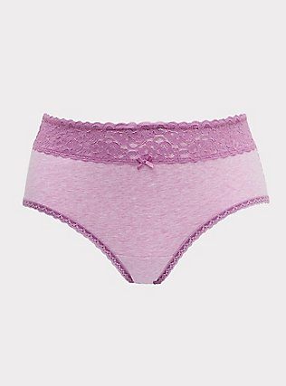 Plus Size Heathered Light Lavender Wide Lace Cotton Cheeky Panty, , flat