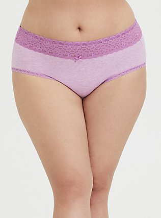 Plus Size Heathered Light Lavender Wide Lace Cotton Cheeky Panty, , hi-res