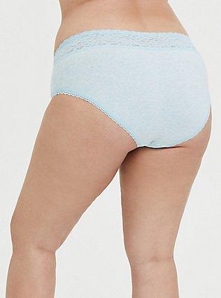 Heather Aqua Blue Wide Lace Cotton Hipster Panty, HEATHER BLUE, alternate