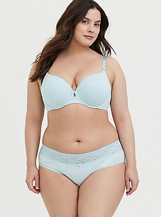Plus Size Heather Blue Cotton 360 Back Smoothing™ T-Shirt Bra and Hipster Panty, , hi-res
