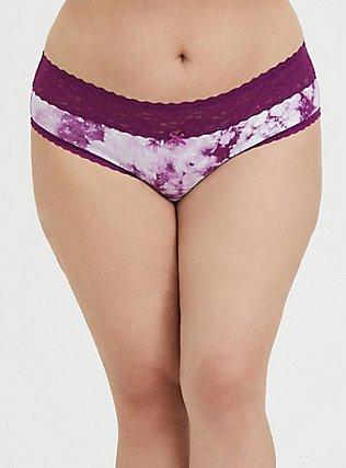 Plus Size Purple Tie-Dye Wide Lace Cotton Hipster Panty, TIE DYE-PINK, hi-res