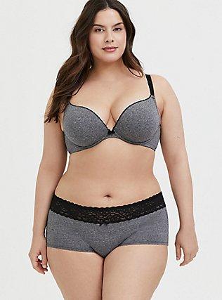 Plus Size Heather Grey Cotton 360 Back Smoothing™ Push-Up Plunge Bra and Boyshort Panty, , hi-res