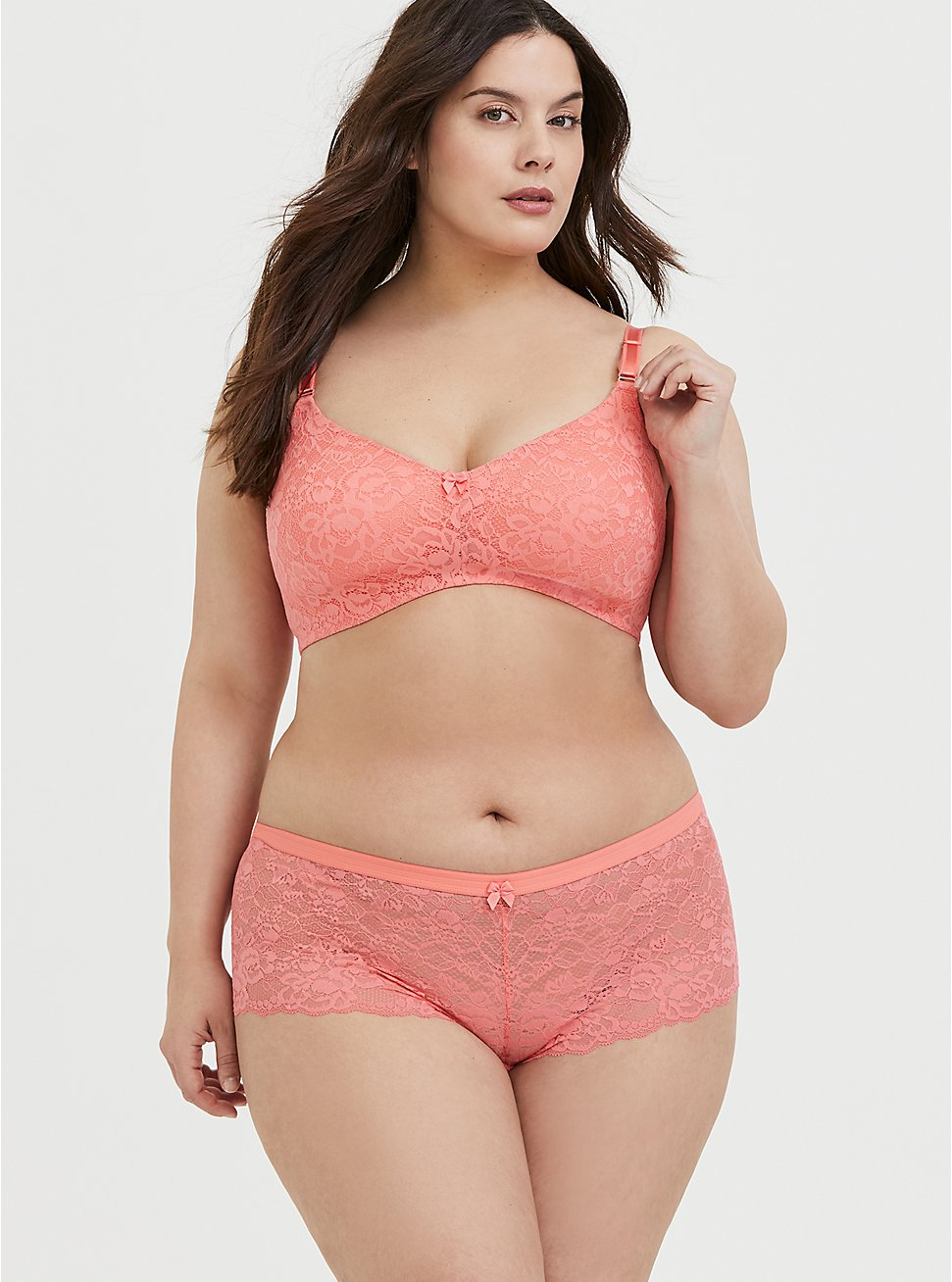 Plus Size Neon Coral Lace 360 Back Smoothing™ Everyday Wire-Free Bra and Cheeky Panty, , hi-res