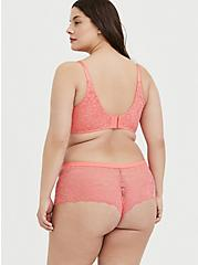 Coral Lace Cheeky Short, CORAL SUNSET- CORAL, alternate