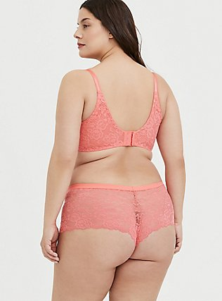 Plus Size Coral Lace Cheeky Short, CORAL SUNSET- CORAL, alternate