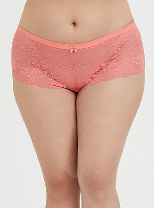Plus Size Coral Lace Cheeky Short, CORAL SUNSET- CORAL, hi-res