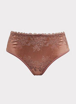 Plus Size Walnut Lace & Mesh T-StrapBack Hipster Panty, WALNUT, flat
