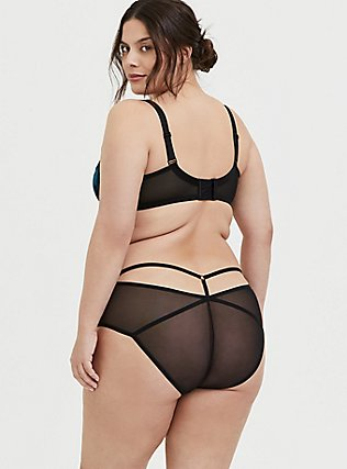 Plus Size Teal Mesh & Black Lace T-Strap Hipster Panty, , alternate