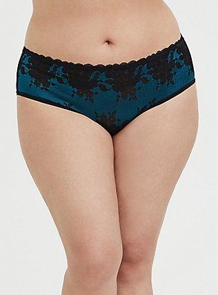 Plus Size Teal Mesh & Black Lace T-Strap Hipster Panty, , hi-res